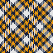 Blue yellow plaid pixel pattern. Seamless tartan check plaid for scarf, poncho, flannel shirt, or other textile design.