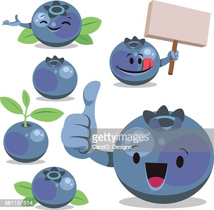 Blueberry Cartoon Set C Vector Art | Getty Images