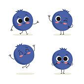 Blueberry. Cute berry vector character set isolated on white