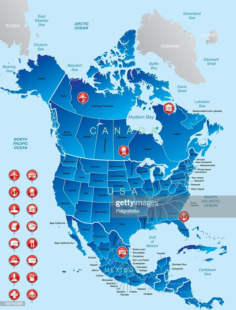 North America Map And Navigation Icons Vector Art Getty Images