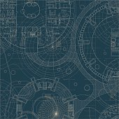 Blueprint on a blue background. Engeneer and architectural drawing.
