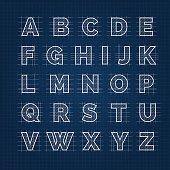 Blueprint vector drafting alphabet. Blueprint sketch roman font on dark background