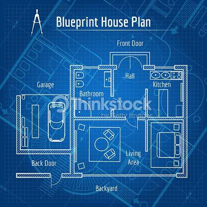 Blueprint house plan vector art thinkstock blueprint house plan vector art malvernweather Image collections