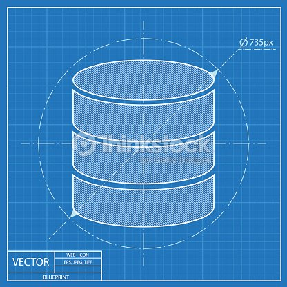 Blueprint icon of database vector art thinkstock blueprint icon of database vector art malvernweather Images