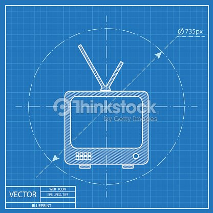 Blueprint icon of tv set vector art thinkstock blueprint icon of tv set vector art malvernweather Images