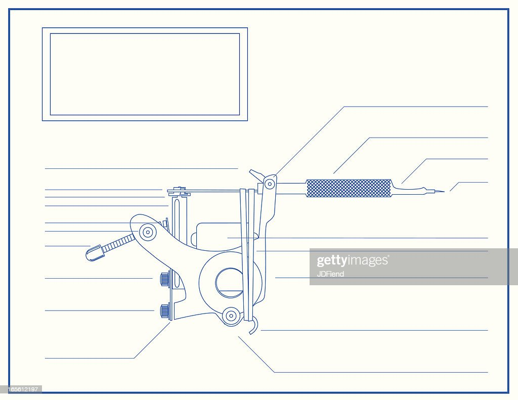 blueprint of a tattoo machine vector art getty images