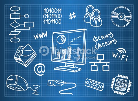 Blueprint of computer hardware and information technology symbols blueprint of computer hardware and information technology symbols vector art malvernweather Images