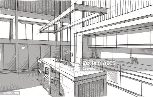 Stuhl Bleistiftzeichnung ~ Design Vektorgrafik  Getty Images