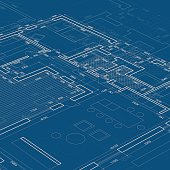 Blueprint. Vector Architectural drawing background.