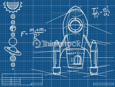 Blueprint with rocket ship and planets vector art thinkstock blueprint with rocket ship and planets vector art malvernweather Gallery