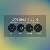 blurred background with coming soon text and countdown timer