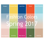 Blurred fashion infographic with trendy colors of the 2017 Spring. Niagara, Primrose Yellow, Lapis Blue,Flame,Island Paradise,Pale Dogwood,Greenery,Pink Yarrow,Kale,Hazelnut. Gradient mesh infographic