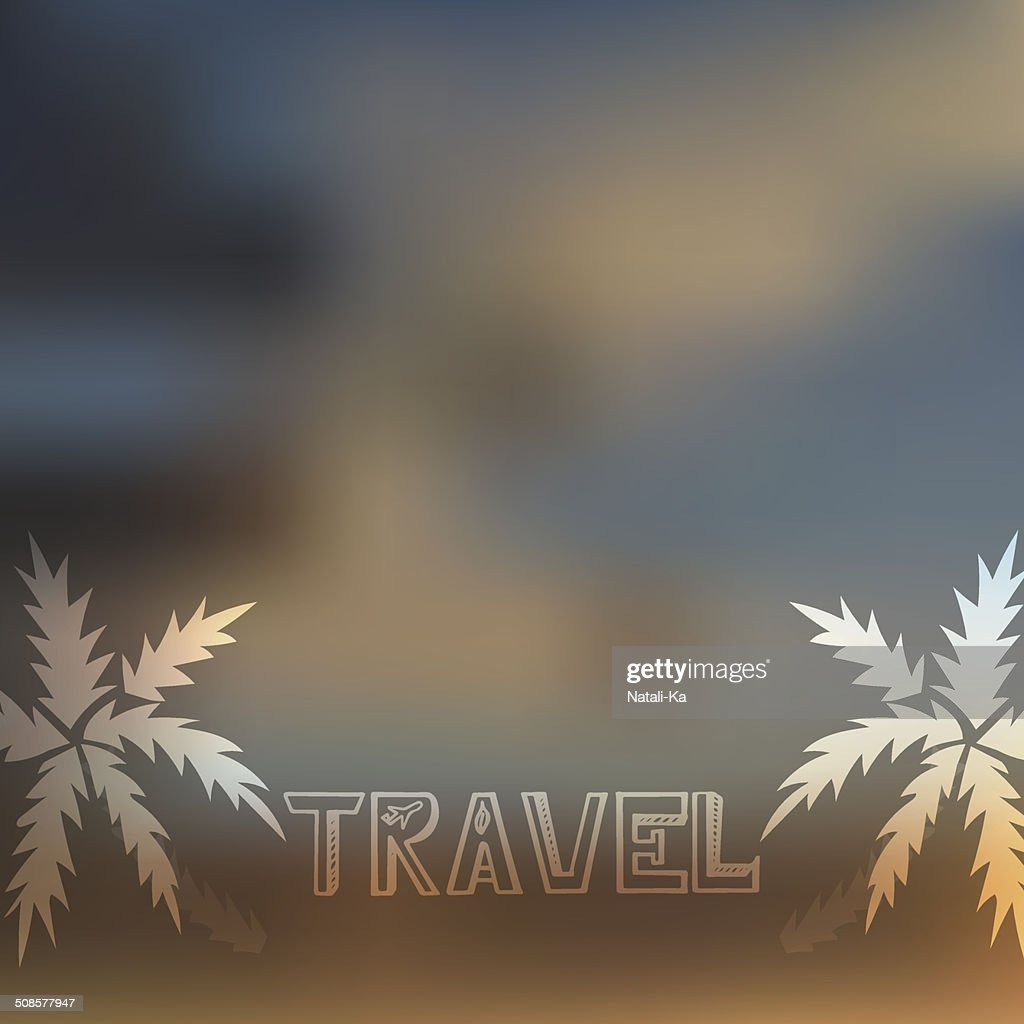 Blurry beach and blue sky with summer sun burst : Vectorkunst