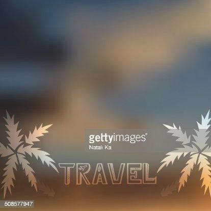 Blurry beach and blue sky with summer sun burst : Vector Art