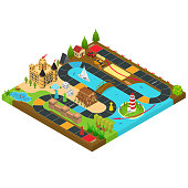 Board Game Concept Team Target 3d Isometric View Road Map on Start to Finish. Vector illustration of Boardgame Challenge