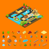 Board Game Concept and Elements Team Target 3d Isometric View Road Map on Start to Finish. Vector illustration of Boardgame Challenge