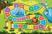 A vector illustration of board game design in animal theme