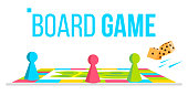 Board Game Vector. Field Space. Logical Table Game For Kids. Isolated Cartoon Illustration