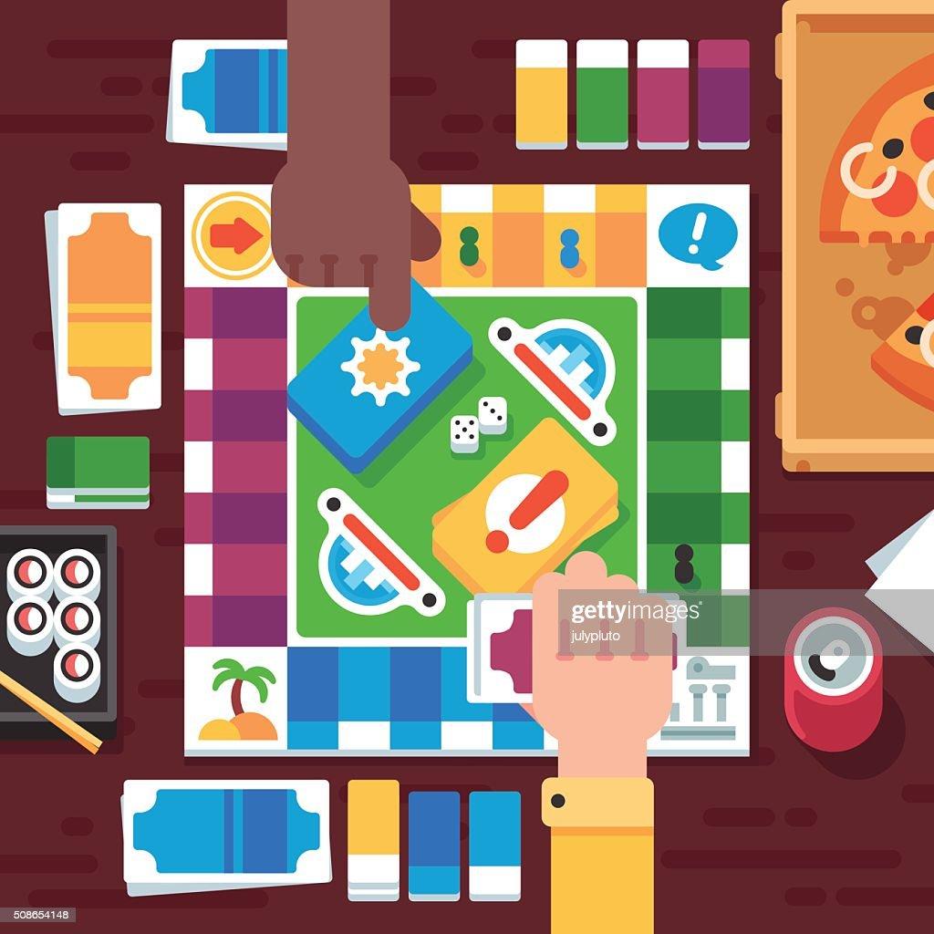 Board Game with Cartoon Hands : Vector Art