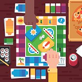 Friendly board game, cartoon hands, fast food on the table. Vector flat illustration.