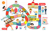 board game with children back to school, Illustration of a board game with Education background, kids board game, child board game