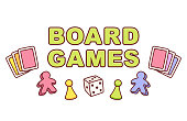 Board games text banner. Playing cards, dice and game pieces. Colorful cartoon style vector illustration.