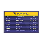 Board of departures in airport. Airport timetable sign with departure or arrival. Realistic flip airport scoreboard template. Airline board. Vector illustration isolated.
