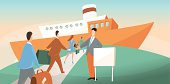 Business people boarding on a cruise ship vector illustration.