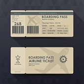 Boarding pass tickets brown paper design. vector illustration.