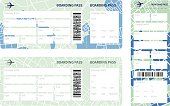 Set of airline boarding pass tickets on whihe background. Vector illustration.