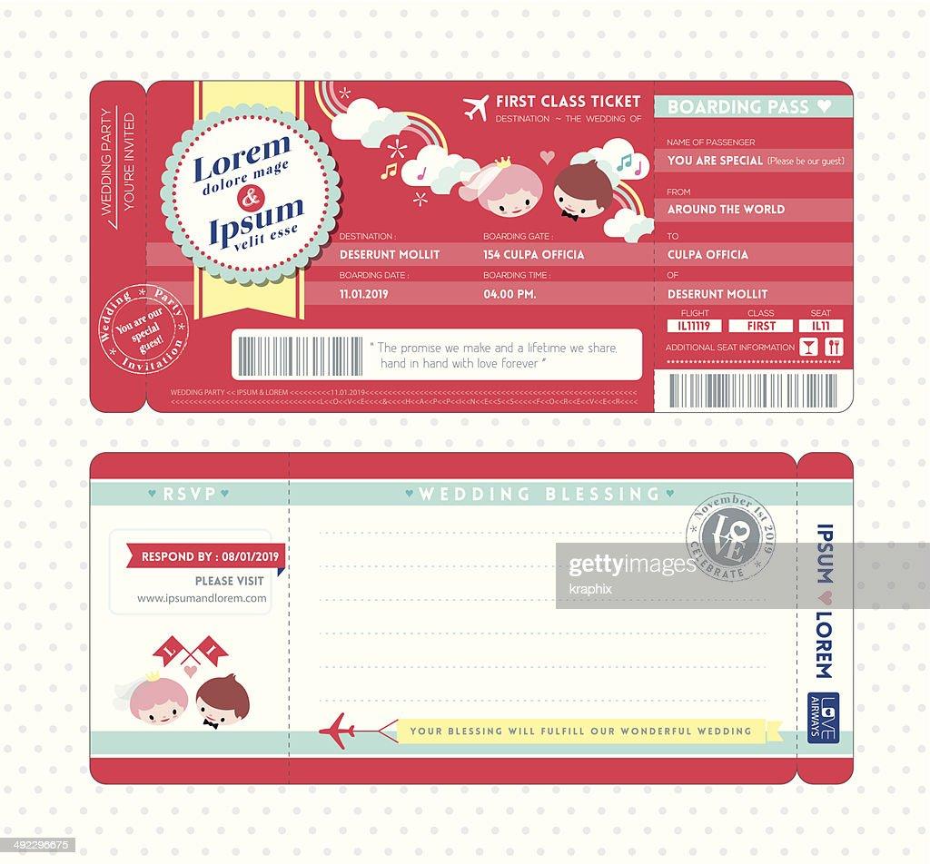 Bordkarte Hochzeit Einladung Vorlage : Vektorgrafik