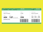 Airline Ticket. Boarding Card. Boarding Pass. Isolated. Vector and illustration design. AI 10 file and Hi res jpeg included.