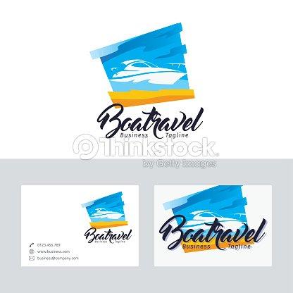Bateau De Logo Vectoriel Avec Modle Carte Visite Clipart