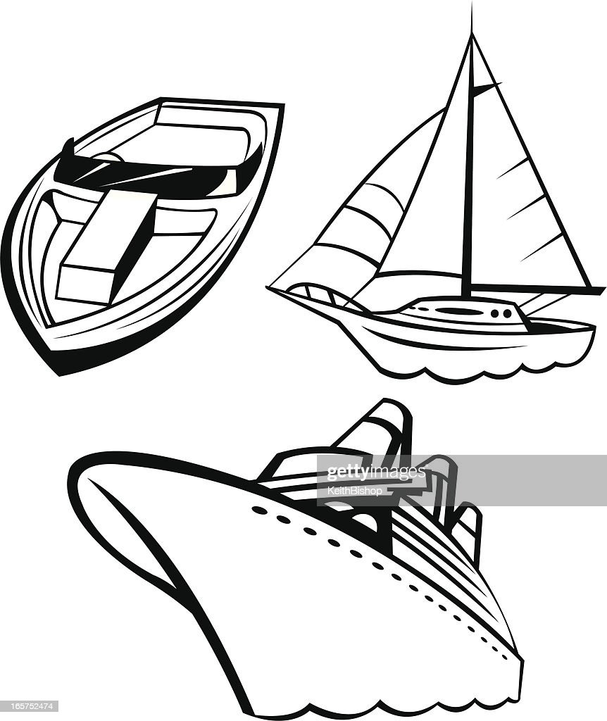boats speedboat sailboat and cruise ship vector art getty images