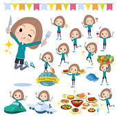 A set of women in sportswear on food events.There are actions that have a fork and a spoon and are having fun.It's vector art so it's easy to edit.