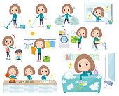 A set of women in sportswear related to housekeeping such as cleaning and laundry.There are various actions such as cooking and child rearing.It's vector art so it's easy to edit.