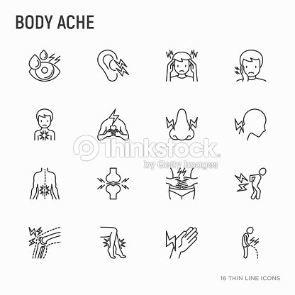 Body aches thin line icons set: migraine, toothache, pain in eyes, ear, nose, when urinating, chest pain, menstrual, joint, arthritis, rheumatism. Modern vector illustration. : stock vector