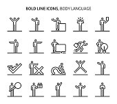 Body language, bold line icons. The illustrations are a vector, editable stroke, 48x48 pixel perfect files. Crafted with precision and eye for quality.