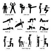A set of human pictogram showing plank variation poses. They are jumping jacks, side kick, squatting, push-ups, push-ups rotation, knee bent push-ups, pelvic scoop, lunge, chair step up, and wall sit.