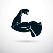 Bodybuilder muscular biceps arm. Weight lifting vector illustration.