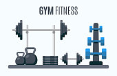 Bodybuilding equipment. Flat design icons on fitness gym exercise equipment and healthy lifestyle exercise supplements. Vector Illustration