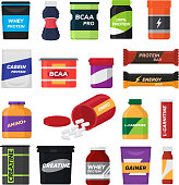 Bodybuilding fitness nutrition vector sport nutritional supplement with protein for bodybuilders illustration set isolated on white background.
