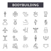 Bodybuilding line icons, signs set, vector. Bodybuilding outline concept illustration: gym,fitness,healthy,exercise,bodybuilding,sport,muscle,health