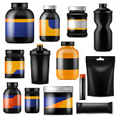 Bodybuilding nutrition vector branding fitness sport nutritional supplement with protein in branded bottle for bodybuilders illustration set isolated on white background.