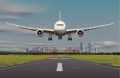 Boeing-787 aircraft landing