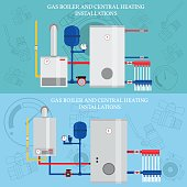 Boiler and central heating installations, flat heating concept, banner, icon. For web design and application interface. Vector illustration.
