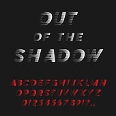 Bold Italic Font Coming Out Of The Shadow. Futuristic Sans Serif Typeface. Letters, Numbers, Punctuation Marks. Latin Alphabet. Vector