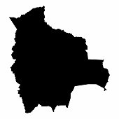 Bolivia map dark silhouette isolated on white background
