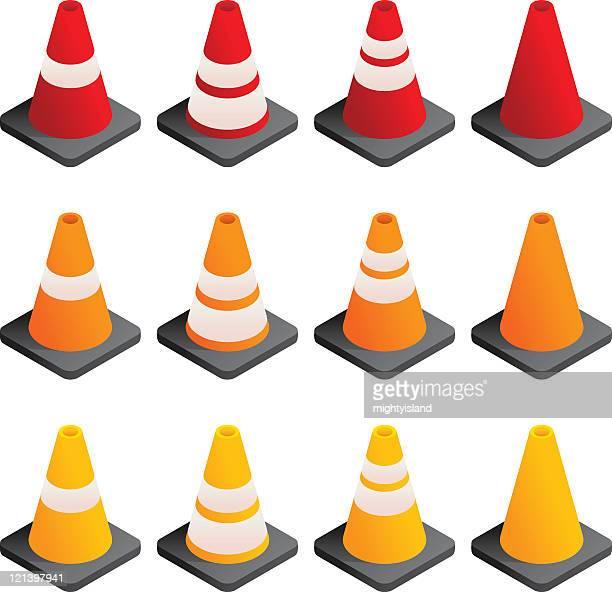 desenhos animados e ilustrações de stock de cone de trânsito getty