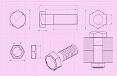 Bolt. Technical drawing on pink draft paper. Vector illustration